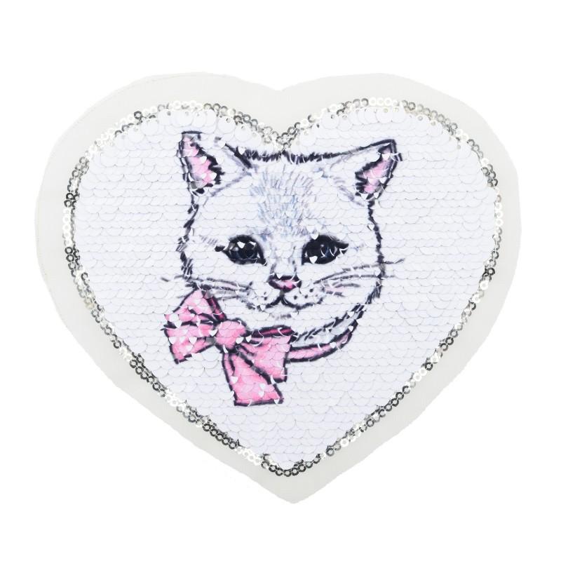 Нашивка СЕРДЦЕ принт кошка 15*17см, цв: белый