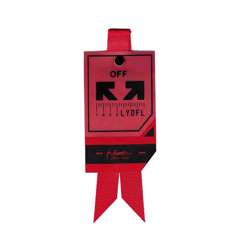 Декоративная навеска на репсе 13*5см,цв:красный/черный