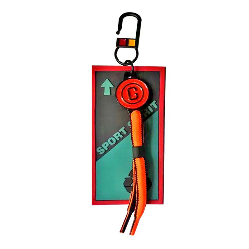 """Декоративная навеска силикон с неоновым шнурочком на металлическом крючке """"SPORT SPIRIT"""", цв:черный/бирюзовый"""