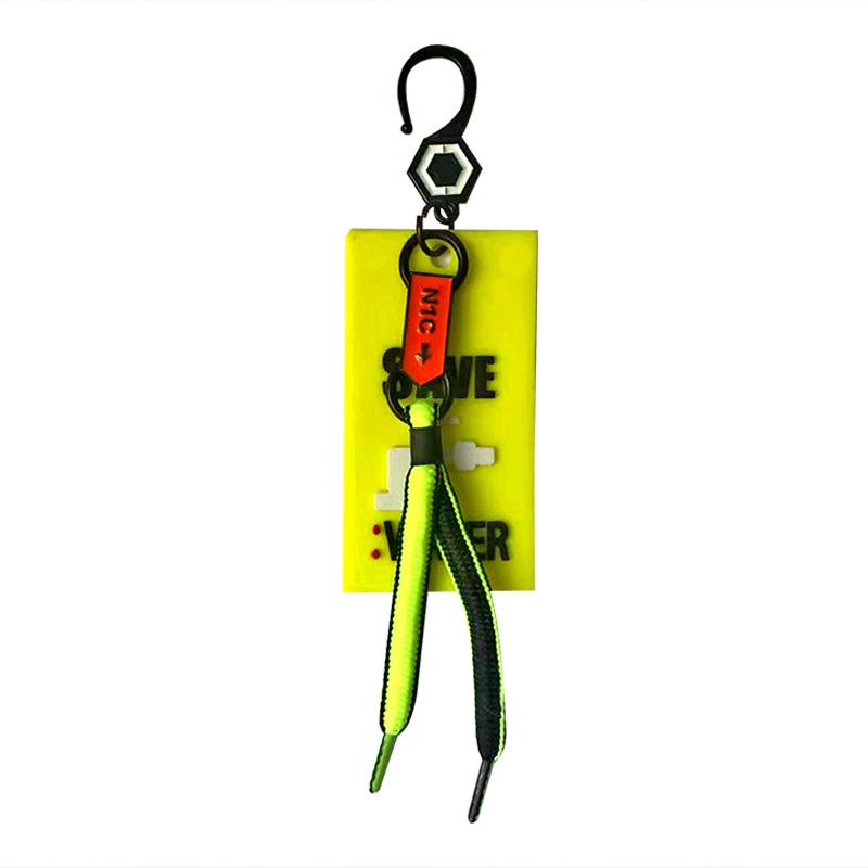 """Декоративная навеска силикон на металлическом крючке с неоновым шнурочком """"SAVE WATER"""" 7*4см, цв:желтый/черный/белый"""