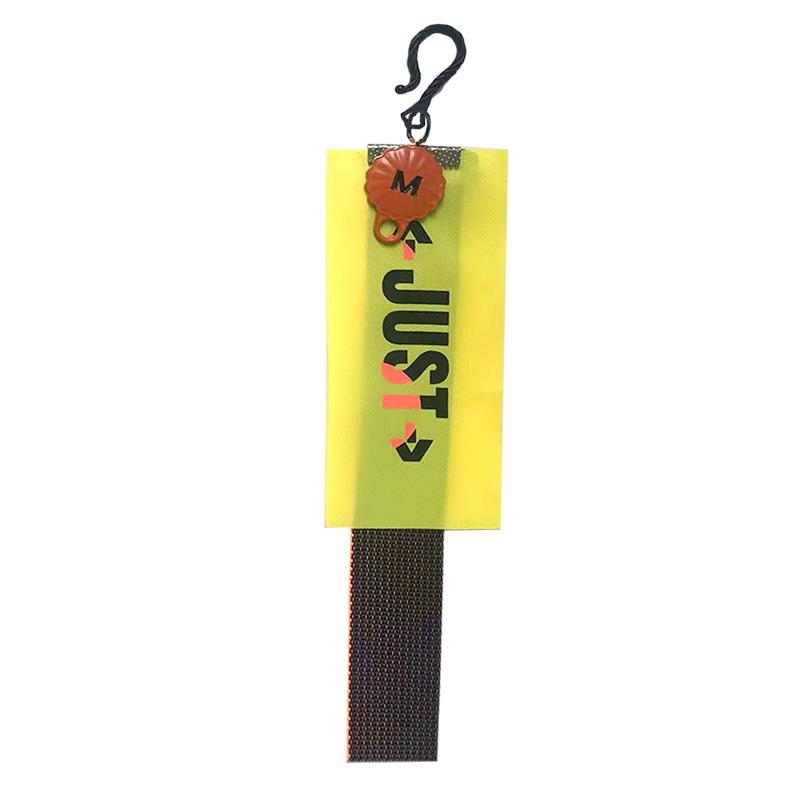 """Декоративная навеска силикон на металлическом крючке стропа """"JUST"""" 17*4см, цв:желтый/оранжевый неон/черный"""