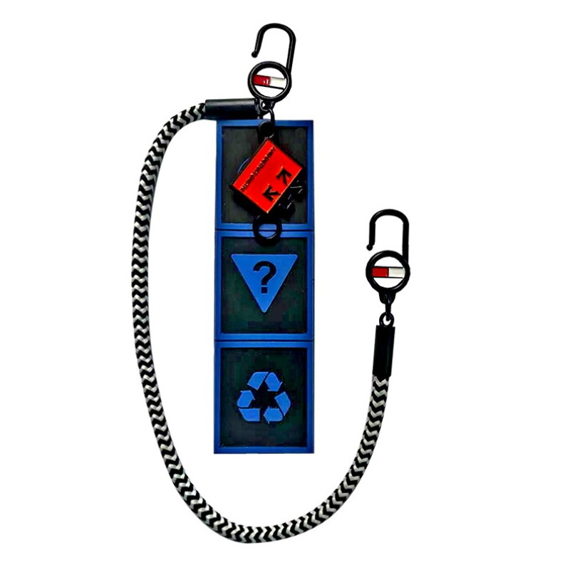 Декоративная навеска силикон на металлическом двухстороннем крючке с шнурком 11,5*3,5см, цв:черный/синий