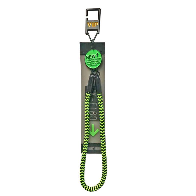 """Декоративная навеска силикон на металлическом крючке с неоновым шнурком """"OX-E180"""" 13*2,5см, цв:прозрачный/черный"""
