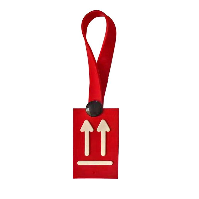 Декоративная навеска силикон на петле с заклепкой 12*3,5см, цв:красный/белый
