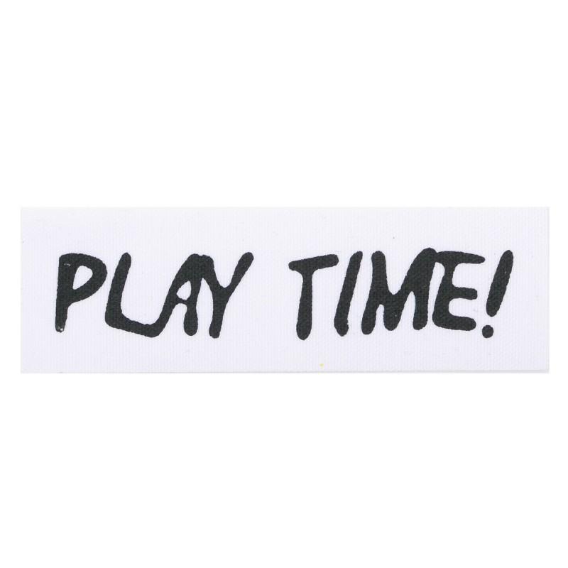 """Нашивка декоративная 3*10см принт """"PLAY TIME"""",цв:белый/черный"""