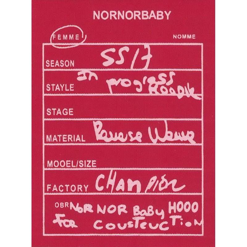 """Нашивка декоративная 13,5*10см принт """"NORNORBABY"""",цв:красный/розовый"""