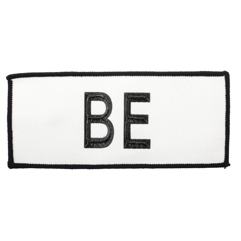 """Нашивка декоративная 6,5*15,5см принт пластизоль 3D """"BE"""",цв:белый/черный"""