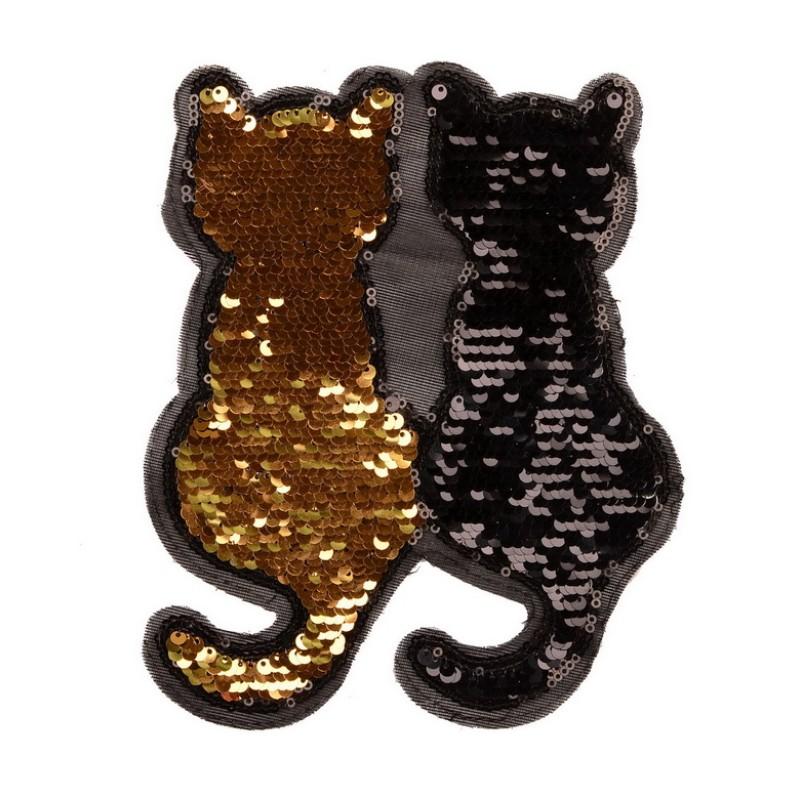 Нашивка с пайетками КОШКИ 22*19см, цв:золотой/черный