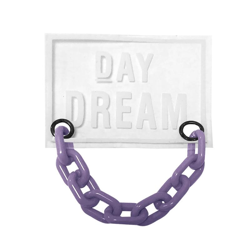 Нашивка силикон 4,5*6см, цв:прозрачный DAY DREAM/цепь пластик сиреневый