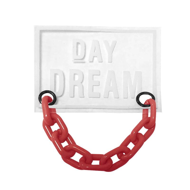 Нашивка силикон 4,5*6см, цв:прозрачный DAY DREAM/цепь пластик красный