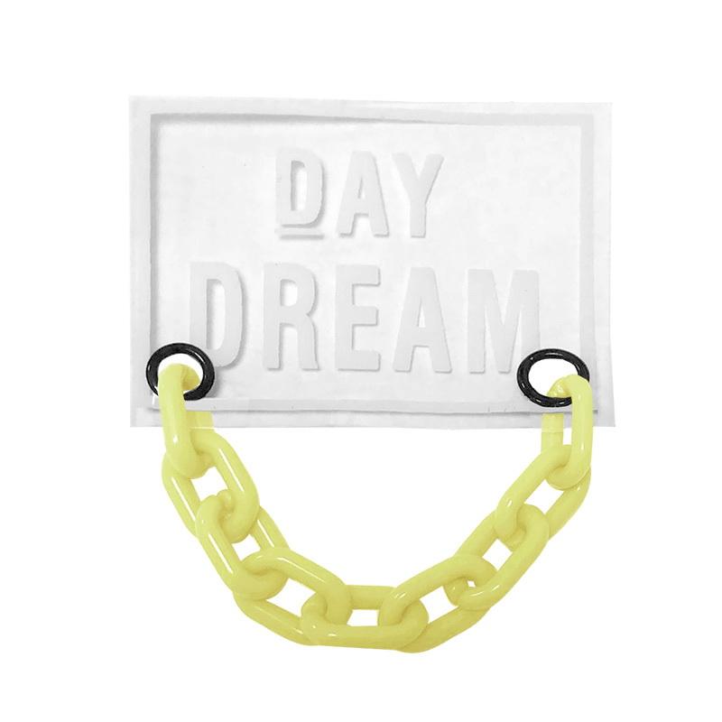 Нашивка силикон 4,5*6см, цв:прозрачный DAY DREAM/цепь пластик желтый