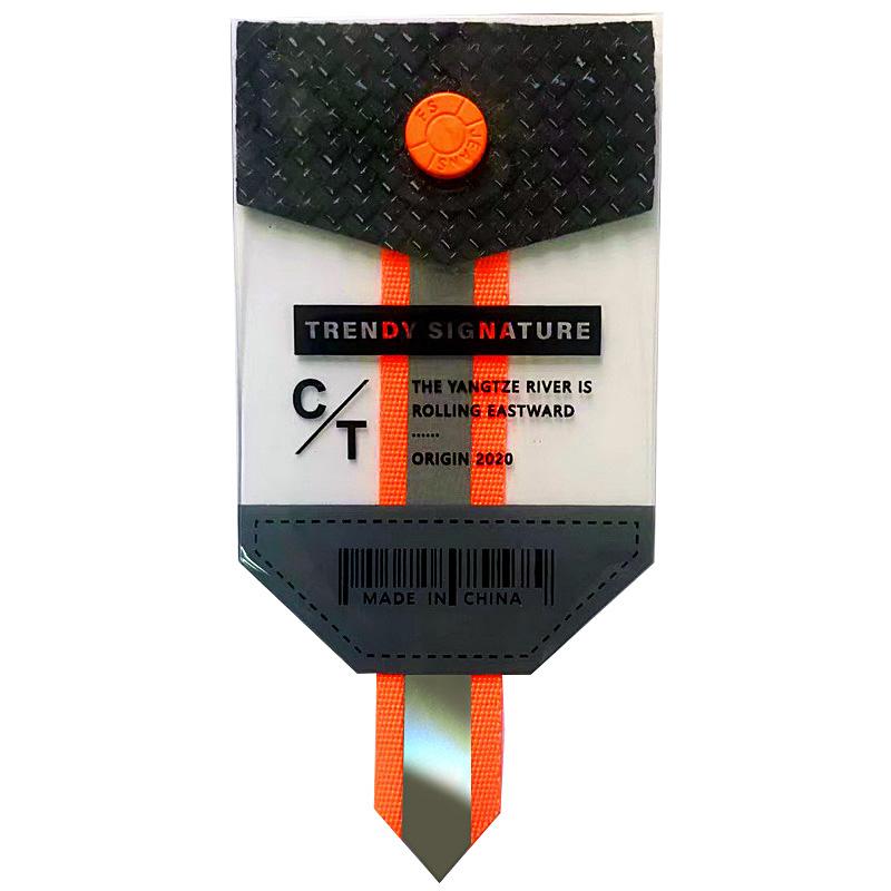 """Нашивка силикон/светоотражающий репс """"TRENDY SIGNATURE"""" 10*6,5см , цв:прозрачный/оранжевый неон"""