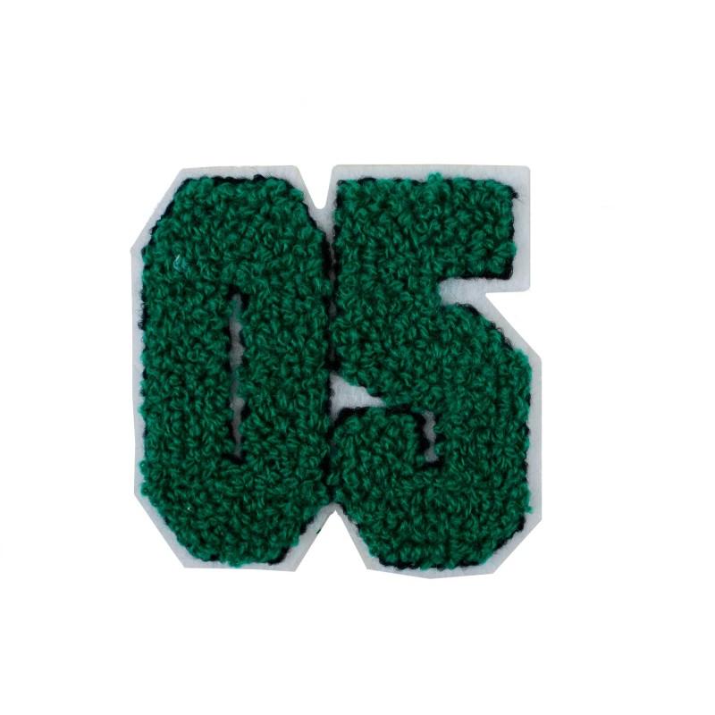 Нашивка махровая 7*7см цифра 05 цв:зеленый