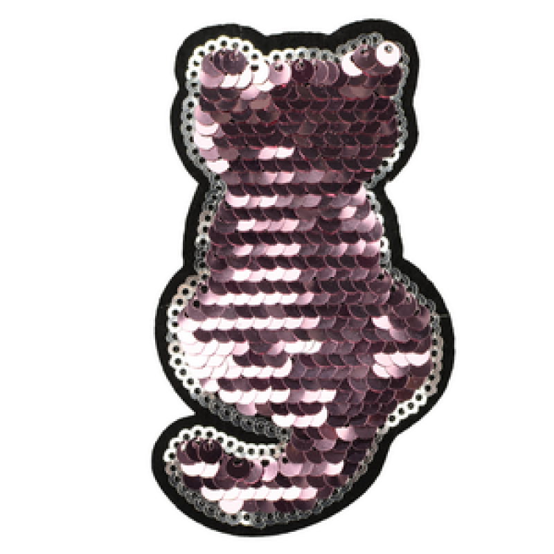 Нашивка КОТИК 9,5*6,5см, цв: розовый