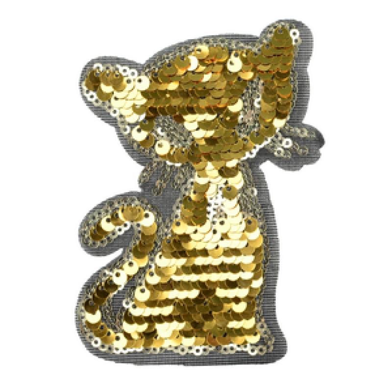 Нашивка КОТИК 10,5*7см, цв: золотой