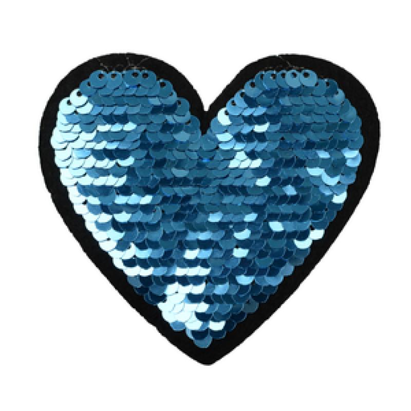 Нашивка СЕРДЦЕ 8*8,5см, цв: синий