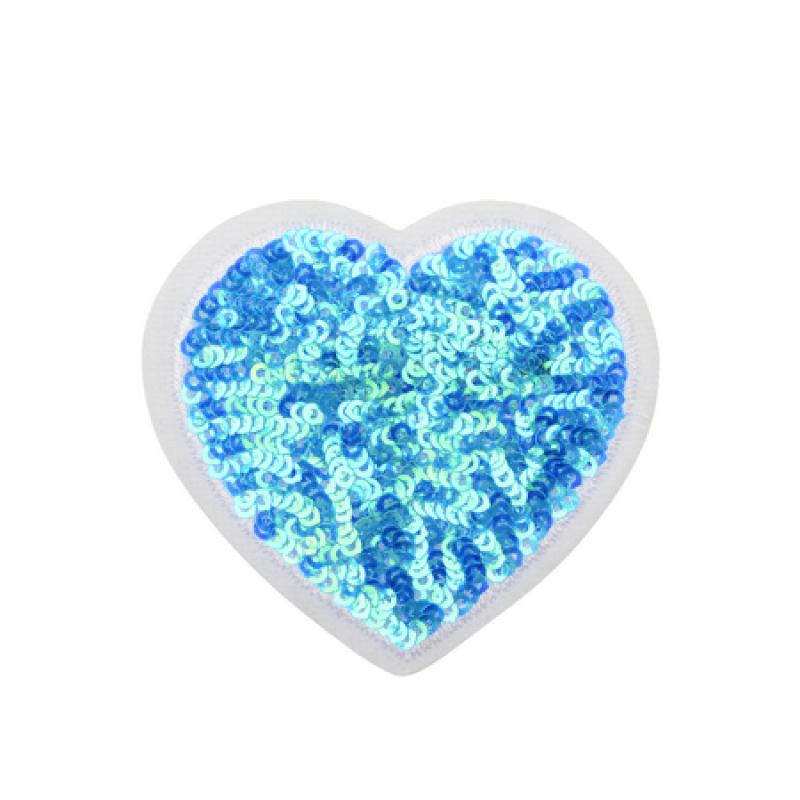 Нашивка СЕРДЦЕ 6*6,5см, цвет: синий