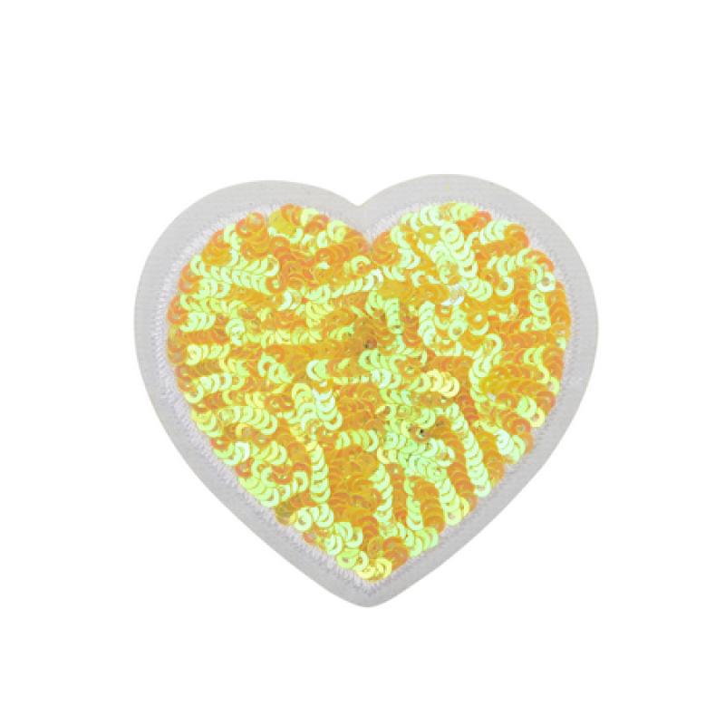 Нашивка СЕРДЦЕ 6*6,5см, цвет:желтый