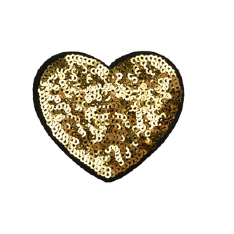 Нашивка СЕРДЦЕ 6*6,5см, цв: золотой
