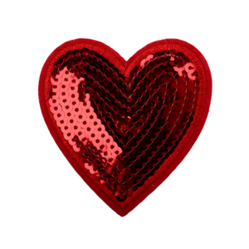 Нашивка СЕРДЦЕ 7,4*7см, цвет: красный