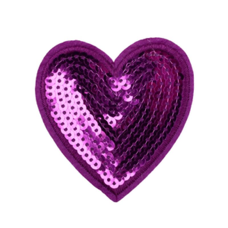 Нашивка СЕРДЦЕ 7,4*7см, цвет: фиолетовый
