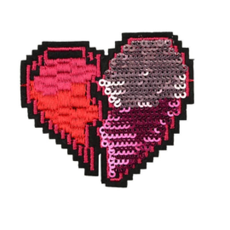 Нашивка СЕРДЦЕ 6*6,5см, цв: красный/розовый