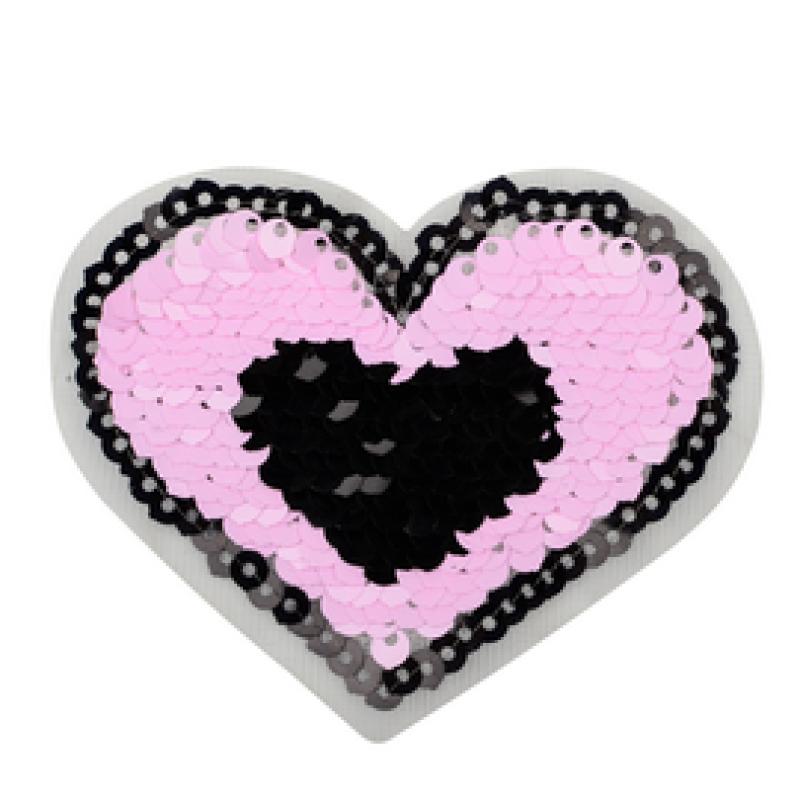 Нашивка СЕРДЦЕ 6,5*7см, цв: розовый/черный