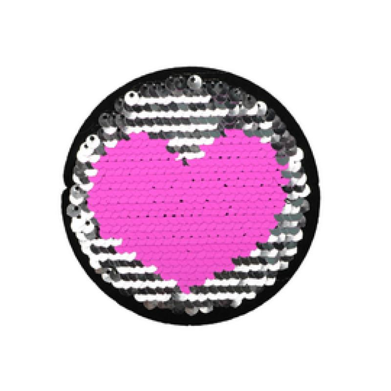 Нашивка СЕРДЦЕ 9*9см, цв: розовый/серебряный