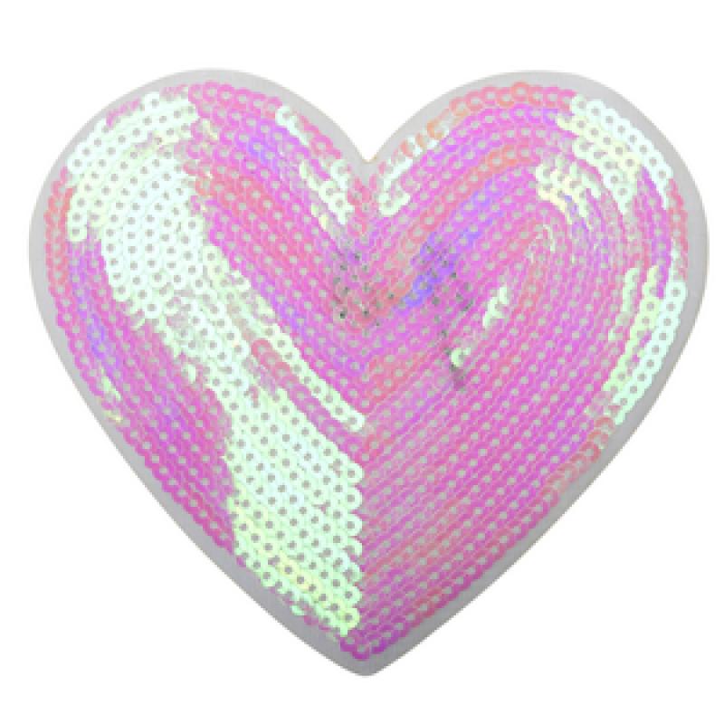 Нашивка СЕРДЦЕ 12*12,5 см, цв: розовый перламутр