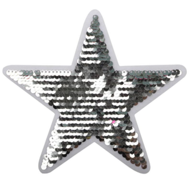 Нашивка ЗВЕЗДА 13,5*14,5см, цв: серебряный