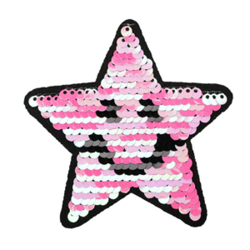 Нашивка ЗВЕЗДА 9*9см, цв: белый/розовый