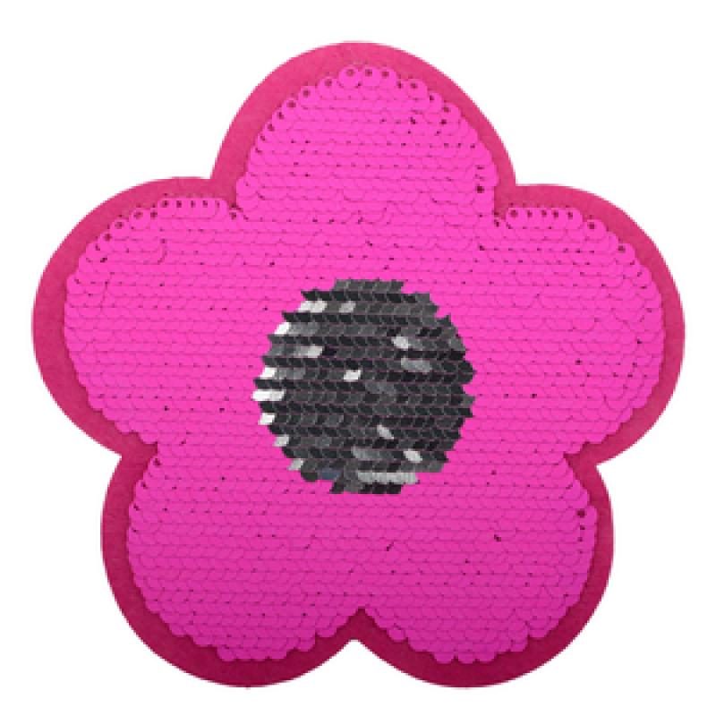 Нашивка ЦВЕТОК 13*13см, цв: розовый неон