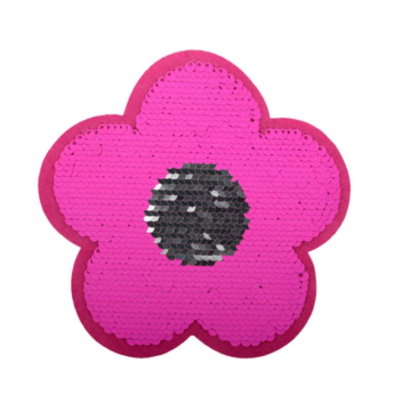 Нашивка ЦВЕТОК 10*10см, цв: розовый неон