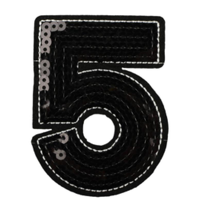 Нашивка ЦИФРА 5 8*6см, цв: черный