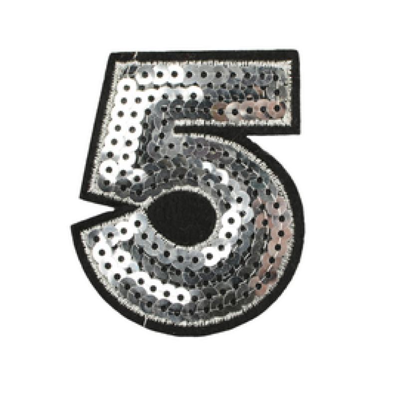 Нашивка ЦИФРА 5 6*5см, цв: серебряный