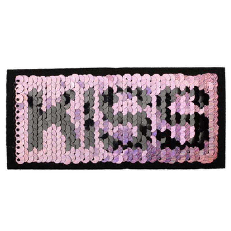Нашивка KISS 5*11см, цв: розовый