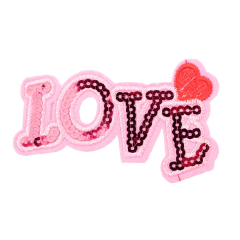 Нашивка LOVE 6*10см, цв: розовый