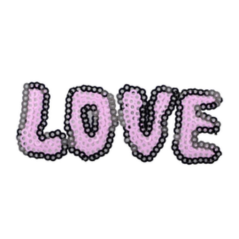 Нашивка LOVE 3*7,5см, цв: розовый
