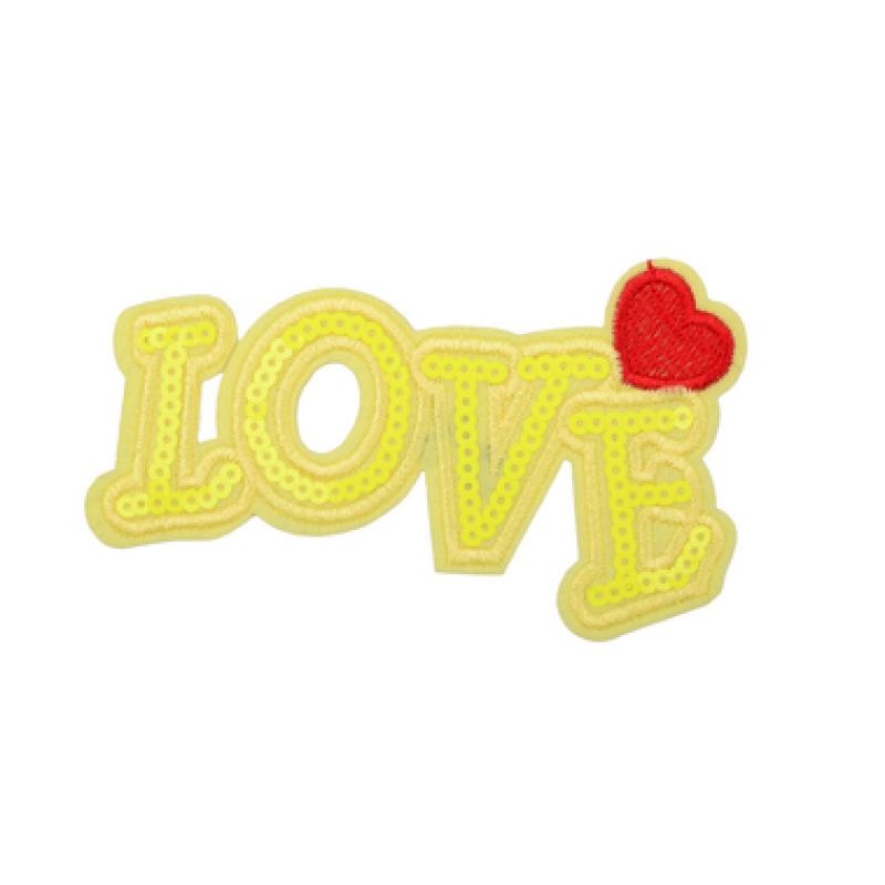 Нашивка LOVE 9,5*18см, цв: желтый