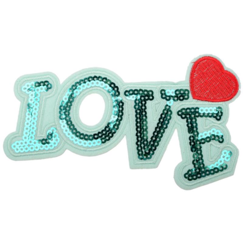 Нашивка LOVE 10*17,5см, цв: зеленый