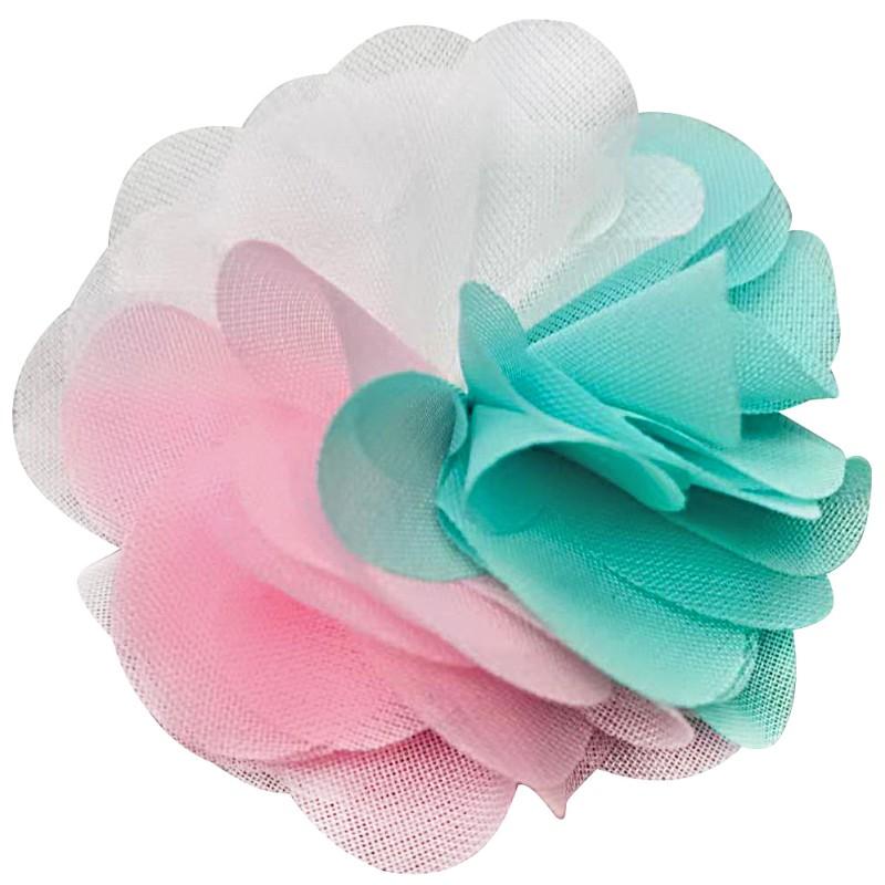 Нашивка пришивная цветок 7см, цв:бирюзовый/розовый/белый
