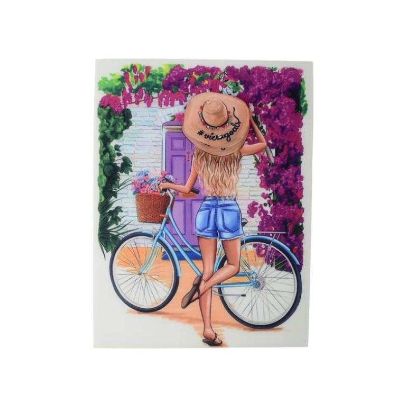 Нашивка 3D девочка в шляпе с велосипедом  22,5х17см