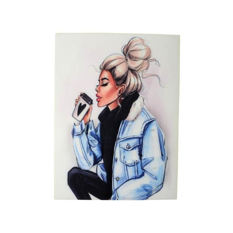 Нашивка 3D девушка в джинсовой куртке  22,5х17см