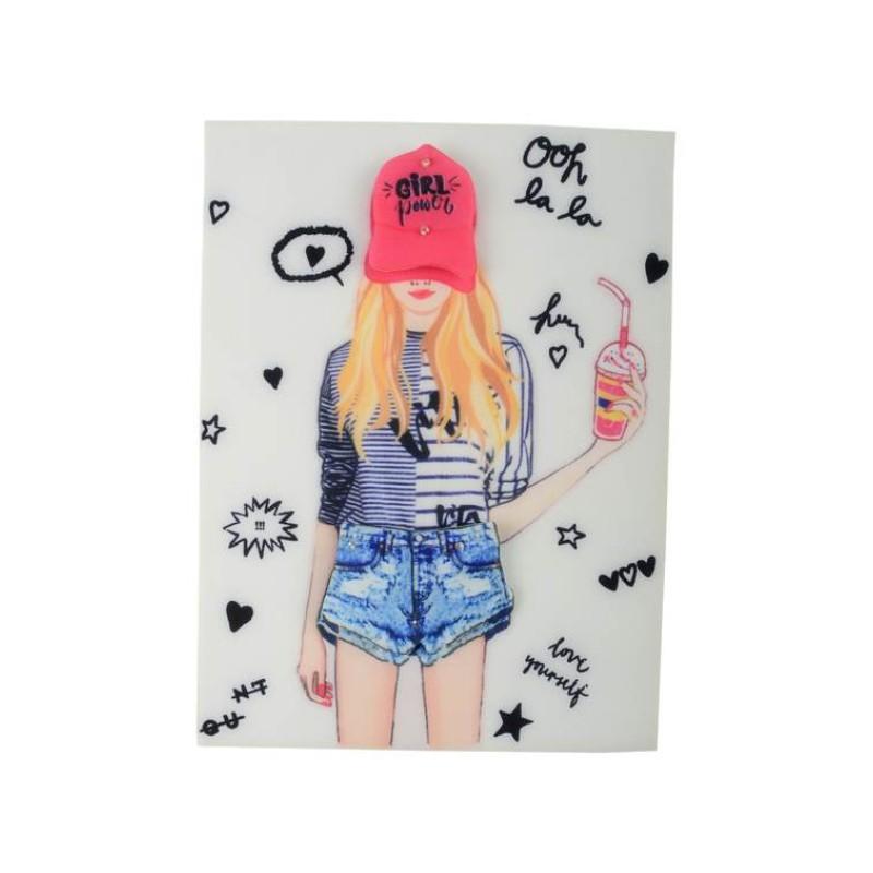 Нашивка 3D девушка в шортах 22,8х17см
