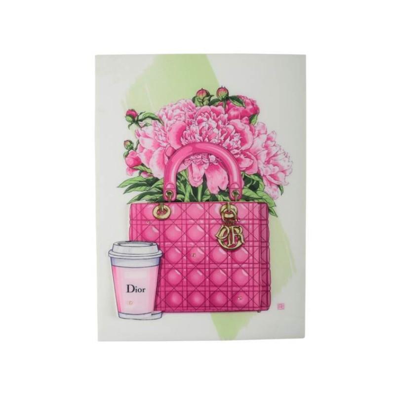 Нашивка 3D розовая сумка 23х17см