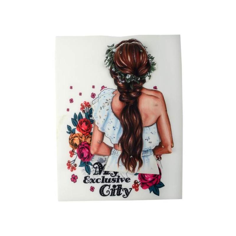 Нашивка 3D девушка с цветами 22,5х17см