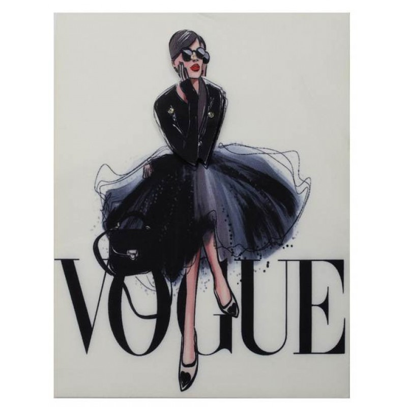Нашивка 3D девушка в платье VOGUE 22,5х17см