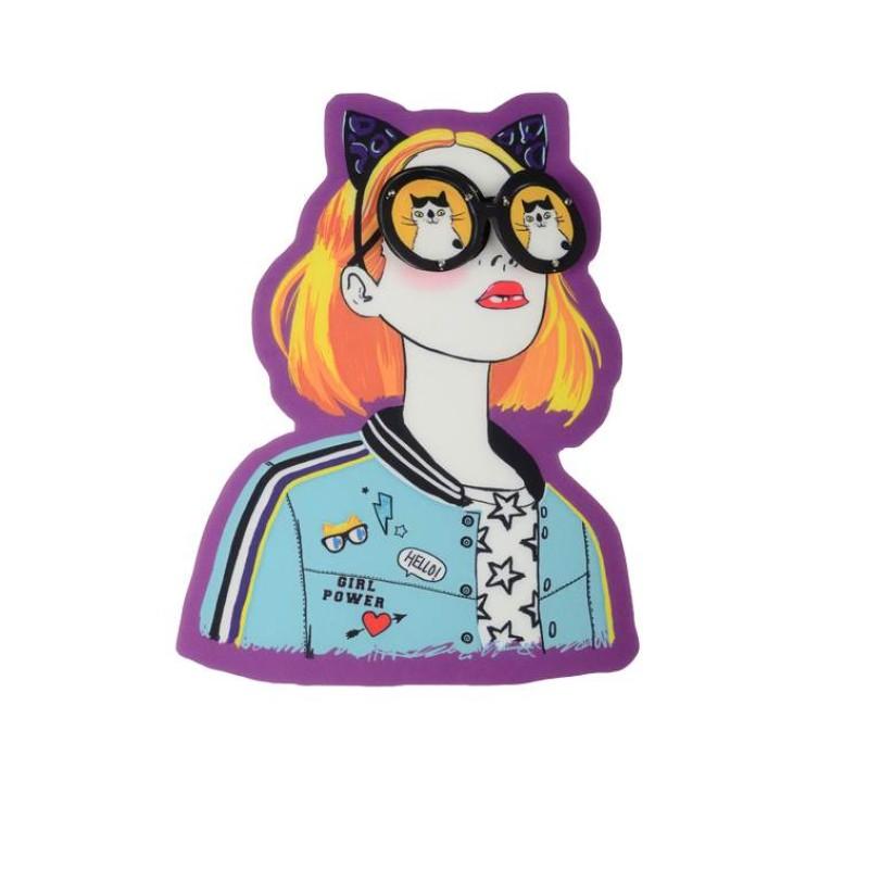 Нашивка 3D девушка в очках 16,3х20,5см