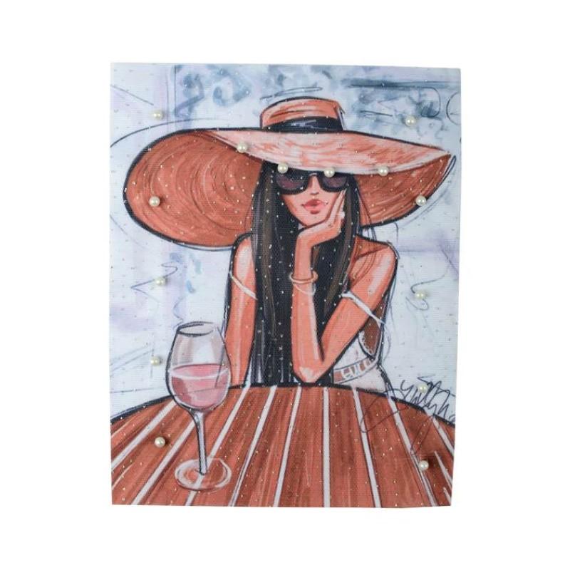 Нашивка 3D дама в шляпе 25,5х20см