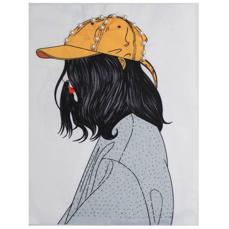 Нашивка 3D девочка в желтой кепке 22х17см